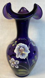 Fenton Art Glass Hand Painted Wild Orchids On Royal Purple Limited Edition