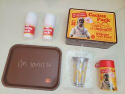 Travis Scott X Mcdonalds Cactus Jack Lunch Box Tray Cups Pack. Lot Of 4