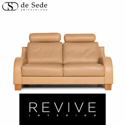 Sede Leather Sofa Beige Two Seater Function Couch 13035