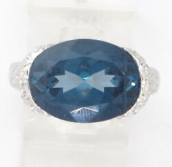 Bixby 18k White Gold Oval London Blue Topaz And Diamond Cocktail Ring 9.15ct 10g