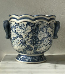 Antique Chinese Blue And White Plant Vase Pot Planter Scallop Ribbed