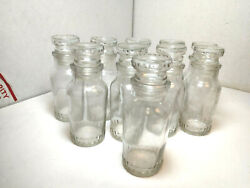 Vintage Lot Of 10 Empty Clear Glass Spice Jars Set Made In Japan