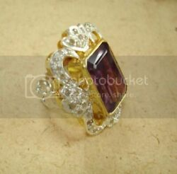 Eye Caching Amethyst, Diamond 18k Gold And Silver Victorian Ring