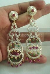 Victorian Ruby, Emerald, Diamond Earring 18k Gold And Silver Jewelry