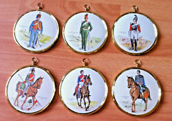Vintage Lithograph X 6 Army Wall Plaque Soldier Frame Miniature Military Job Lot