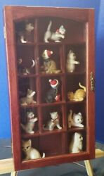 Vintage Wood Mirror Curio Display Cabinet Shelf For Miniatures Wall/freestanding