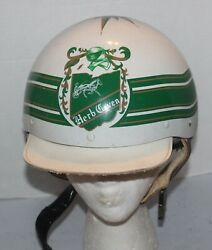 Vtg Horse Racing Riding Helmet Herb Coven 7 Hard Handcrafted White And Green Rare