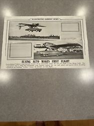Original Vintage 1947 Consolidated Vulteeandrsquos Flying Auto Poster Rare