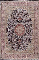 Antique Floral Traditional Oriental Area Rug Hand-knotted Wool Navy Carpet 10x13
