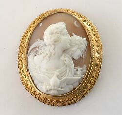 Fantastic Victorian 14k Carved Shell Cameo Pin, People, Birds, Moon, Star