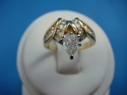 1.00ct T.w. Natural Diamonds 14k Yellow Gold Engagement Ring 0.45ct Pear Cut