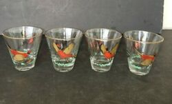 Vintage Set Of 4 Libby Cocktail Glasses Lowball Barware With Pheasant Gamebirds
