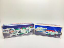 Lot Of 2 Hess 1996 Emergency Truck 2001 Helicopter Motorcycle Cruiser New