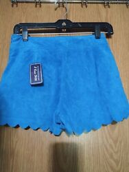New Women's Sexy Scalloped Turquoise Blue Suede Short Shorts Sz 26 Waist