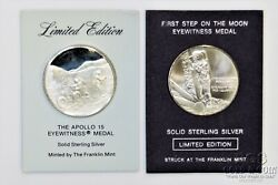 Franklin Mint Apollo 15 Space Eyewitness Silver Medals Limited Ed 2 Medals 21058