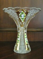 Bohemian Czech Crystal Gold 12 Tall Vase Hand Cut Queen Lace 24 Lead Glass