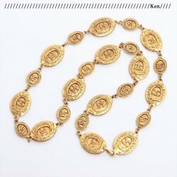 Necklace Chain Auth Coco Mark Logo Pendant Rare Medal Coin Gold 84.5 F/s