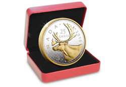 Canada 2015 5oz Silver Gold-plated Caribou Coin