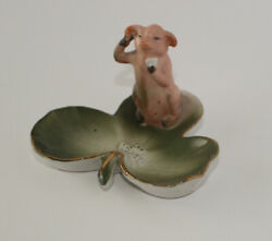 Antique German Pink Fairing Porcelain Pig Standing On A Clover With Dice