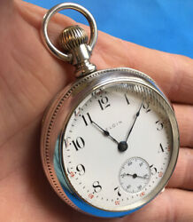 Antique 1887 Elgin Illinois 18s Coin Silver Sterling Pocket Watch Runs 158g