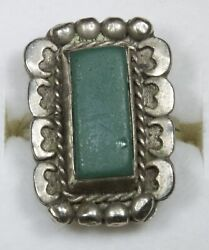 Southwestern Sterling Silver Turquoise Ring Size 6.5 X378d