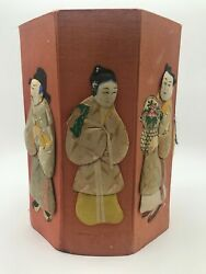 Vintage Silk And Paper Chinese Dolls On Silk Covered Cardboard Display C.1960's