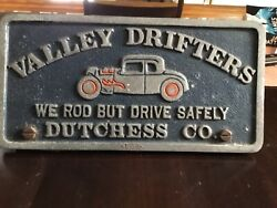 Vintage Poughkeepsie New York Car Club Plaque Valley Drifters Dutchess County