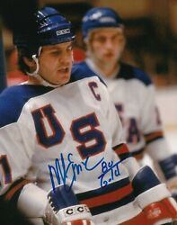 Mike Eruzione Real Hand Signed Live Action Hockey Photo 4 Coa Usa Team Miracle