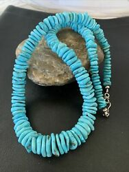 Native American Navajo Graduated Blue Turquoise Sterling Silver Necklace 01990