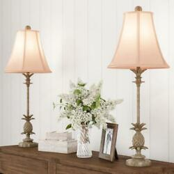 Pineapple Buffet Lamps With Hexagon Shades-set Of 2 Matching Table Lamps-vintage