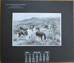 Bluffton, In 1906 Advertising Calendar Studebaker Bank W/dogs - Indiana Ind