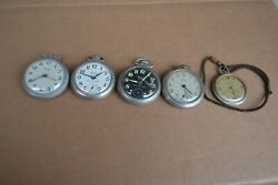 Lot Of 5 Vintage Pocket Watches - Westclox Pocket Ben And Scotty Ever Swiss 17j.