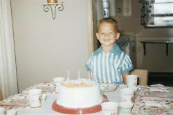 Vintage 1950s Red Border Kodachrome 35mm Slide Young Boy With Birthday Cake #2