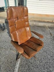 60's Mid Century Modern Homecrest Wire Lounge Arm Chair Eames Style Leather Mcm