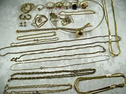 Vintage Gold Over 925 Sterling Silver Jewelry Lot Not Scrap 104gr All Wearable