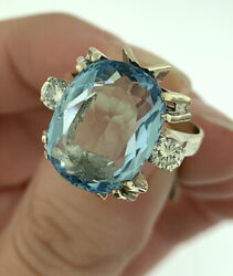 Vintage Oval Aquamarine And Diamond Three Stone Ring In 14k White Gold Size 6.75