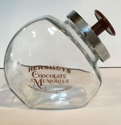Vintage Hershey's Chocolate Memories Glass Canister Jar With Lid Brown Emblem