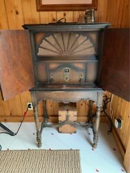 Howard Gd8 Antique Tube Radio Rare Mahogany Cabinet Stand Mag Coil Speaker 1927