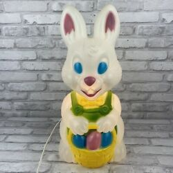 General Foam Blow Mold Easter Bunny With Eggs Basket Light Up Tested Working 19