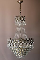 Antique French Empire Vintage Crystal Chandelier Ballroom Ceiling Light Lamp
