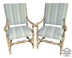 Pair Of French Louis Xiv Style Upholstered Armchairs Host Dining Accent Chairs