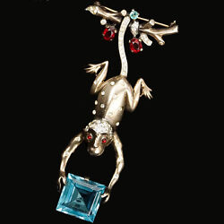 Trifari Sterling Philippe Monkey Swinging On A Branch Pin