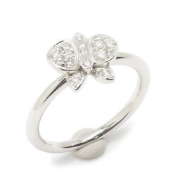 Ring Orchid Diamond K18wg 750 48 Us Size 4.5-5 Auth 042504