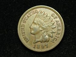 Must Go Sale Au 1897 Indian Head Cent Penny W/ Full Liberty And Diamonds 112w