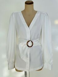 Witchery Wide Waist Belted Button Font Shirt Top Size 16 Excellent Condition