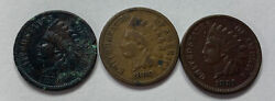 Lot Of 3 Great Condition Better Rare Date Indian Head Cent 1879/1880/1881. 437