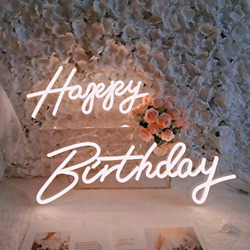 Divatla Happy Birthday Neon Sign For Any Age, Your Kids 1st Birthday, Party In 2