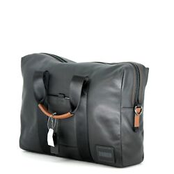 Coach Pacer Brief Light Weight Black Leather With Laptop Sleeve Authentic New