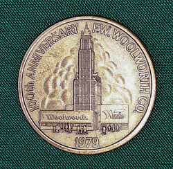 F.w. Woolworth Co. 100th Anniversary 1979 Coin Token Medal Vintage Advertising