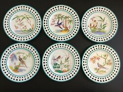 Antique Set Of 6 Thomas Charles Ford Hand Painted Chinoiserie Cabinet Plates